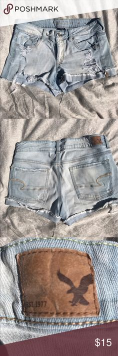 American Eagle Midi Jean shorts Light demon size 8 midi jean shorts from American eagle. Gently used! Small rip up the from of the shorts that was there when purchase but just extended about a inch further up (in pictures). American Eagle Outfitters Shorts Jean Shorts