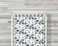 Woodland Moose and Bear Crib Sheet Crib Bedding Bear Crib Crib Mattress, Crib Sheets, Crib Bedding, Rustic Crib, Valance Curtains, Baby Room, Cribs, Woodland, Moose