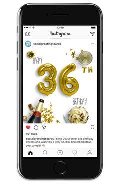 36th Birthday Card Gold - Social Greetings Cards