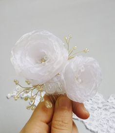 White wedding floral hair comb fascinator Veil by GingiBeads, $42.50