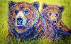 """Colorful Contemporary Momma Bear and Cub Fine Art Prints. """"Just the Two of Us"""". Contemporary Animal Paintings by Renowned Wildlife Artist Teshia. Original Animal Paintings & Art Prints at www.TeshiaArt.com"""