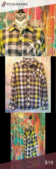 Zoo York Plaid Grunge distressed Shirt Mens Medium Mens Zoo York Plaid Grunge distressed fray hole in front of shirt skater punk   Men's size medium   Plaid colors bright yellow, grey , white , blue stripe  Long sleeve  Button front and sleeves   If you have any questions, please don't hesitate to ask Zoo York Shirts
