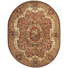 Safavieh Hand-made Classic Rust (Red)/ Gold Wool Rug (7'6 x 9'6 Oval) (CL223B-8OV), Size 8' x 10'