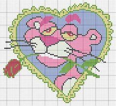 cross stitch chart pink panther heart