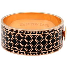 Halcyon Days 18ct Rose Gold Plated Harlequin Bangle, Black ($220) ❤ liked on Polyvore featuring jewelry, bracelets, bangle jewelry, cuff bangle, hinged bracelet, bangle bracelet and polish jewelry