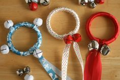 Jingle Bell Ribbon Rings for the holidays! These would be great on doorknobs.