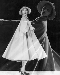 You saw it here first and you know it! Model #DOVIMA ❤️ #Doubleexposure of model wearing very full #coat & wide brimmed #hat; twirling to show drape of coat. 1946 #GjonMili #yousawitherefirst #fashion #fashionphotography #photography #photographer #beauty #model #hairandmakeup #makeup #firouzfashion #iconic #fashiondesign #vintage #fashionicon