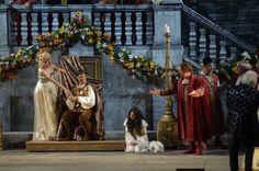 At the Court of Mantua: the Duke (Francesco Demuro) and Borsa (Mario Bolognesi).