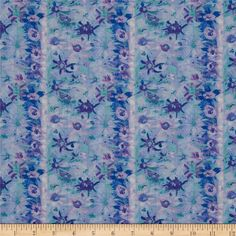 Designed by George Mendoze for Free Spirit Fabrics, this cotton print fabric is perfect for quilting, craft projects, apparel and home décor accents. Colors include aqua green, teal, lilac, orchid and shades of blue.