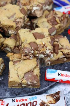Katie Paxton saved to Baking (Bars & Bueno Cookie Bars! Tray Bake Recipes, Easy Cookie Recipes, Easter Recipes, Brownie Recipes, Sweet Recipes, Baking Recipes, Cake Recipes, Dessert Recipes, Kinder Bueno Recipes