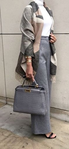 Love the color palett and scarf style*  Fendi