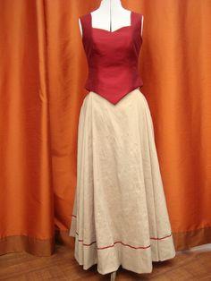 Tenue de cérémonie en soie sauvage, bustier et jupe longue