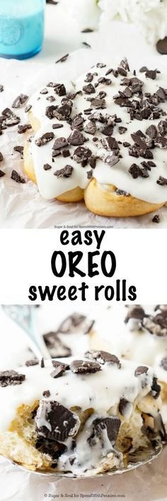 These Easy Oreo Sweet Rolls are super simple to make! This breakfast (or dessert) dish comes together fast, only about a half hour from start to finish and they're out of the oven and on your plate, ready for you to indulge in!