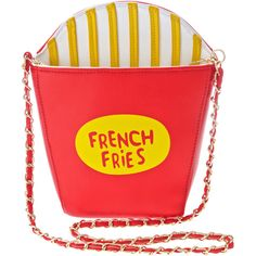 French Fry Purse found on Polyvore featuring bags, handbags, shoulder bags, red cross body purse, gold crossbody, purse shoulder bag, shoulder handbags and handbags shoulder bags