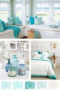 Summer Crush - Mint & Aqua (Coastal Style) - Home Designs Coastal Bedrooms, Coastal Living Rooms, Living Room Paint, Coastal Curtains, Cottage Bedrooms, Coastal Entryway, Coastal Rugs, Coastal Bedding, Beach Cottage Style