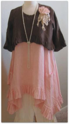 Layla tank in pretty pink layered with our chocolate brown shrug.