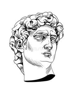 Roman Drawings, Dark Art Drawings, Art Drawings Sketches, Michelangelo, Greek Drawing, Statue Tattoo, 4 Tattoo, Scribble Art, Mythology Tattoos