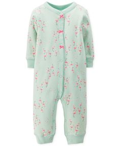 Carter's Baby Girls' Footless Flamingo Coverall