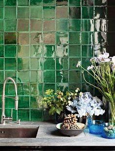 glossy green tile.