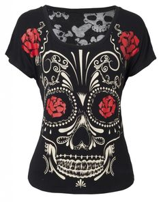 Sugar Skull Day of the Dead Shirt Top Jawbreaker Día de los Muertos Burnout. Found on ebay