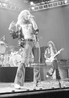 Robert Plant and Jimmy Page of Led Zeppelin performing on stage at Earls Court, London, 17 May 1975.