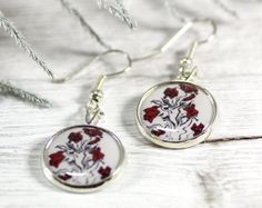 Red White Flower Black Nature Woodland Earrings 042E by CutTheFish, $22.00