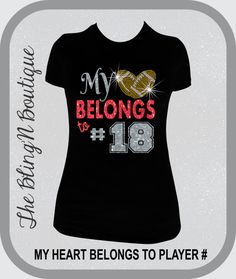 My Heart Belongs To Custom Football Player Number Bling Rhinestone Shirt, Football Mom Bling Shirts, Custom Football Bling Shirts