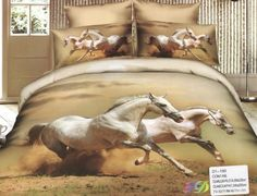AlyShop: Lenjerie pentru pat dublu din bumbac satinat - Horse