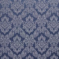 Wedgewood Blue Light and White Floral Brocade Upholstery Fabric