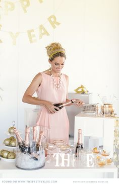 blush & gold glitter new years party