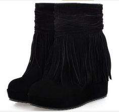 Tassel Boots Female Ankle Boots 2014 Autumn And Winter Boots Platform Wedges Female High Heeled Shoes Boots-inBoots from Shoes on Aliexpress.com | Alibaba Group