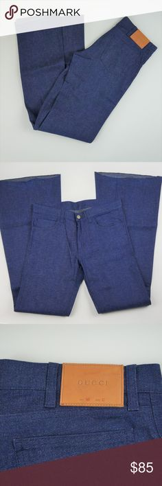 """Gucci MENS Bell Bottom Dark Wash Jeans GUCCI Size 32 These have sample tags on the inside label. They are in excellent condition/still have original creases in the legs! 5 pocket; vintage dark wash; flare bottoms are un-hemmed.  Length: 44"""" Waist laying flat: 16"""" Hips laying flat: 19"""" Inseam: 35"""" #122 Gucci Jeans Bootcut"""