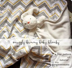 Shannon from Googiemomma shares a free pattern for making her Snuggly Baby Bunny Blanky. It's a soft baby blanket made from minky and flannel, with a cute bunny softie attached. The bunny s… Baby Snuggle Blanket, Bunny Blanket, Lovey Blanket, Soft Baby Blankets, Baby Pillows, Diy Bebe, Fluffy Bunny, Baby Lovey, Baby Sewing Projects