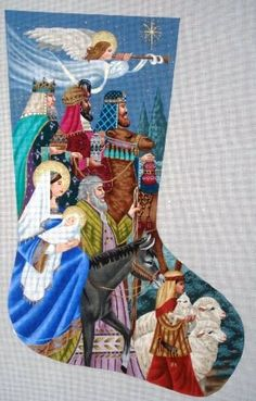 Tapestry Tent Designs - Nativity II needlepoint stocking