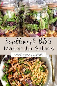 Mason Jar Lunch, Mason Jar Meals, Meals In A Jar, Mason Jars, Mason Jar Recipes, Healthy Meal Prep, Healthy Eating, Healthy Recipes, Meal Prep Salads