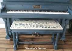 An Ancient Piano Gets A Shocking Modern Makeover (For $5!)  Stencil fabric with music design   put on bench.