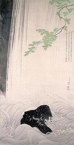 青楓瀑布図 円山応挙 江戸時代 1787年 サントリー美術館蔵