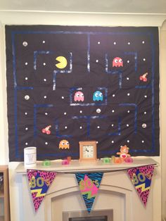 The glamorous Homemade Pacman Wall Decoration, Scene Setter, Care Bear For Back To The Future Party Decorations digital photography … Craft Party, Diy Party, Party Ideas, 80s Party Decorations, Office Decorations, Under Sink Unit, Back To The Future Party, Blacklight Party, Scene Setters