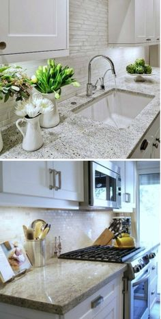 Just Ask A Designer: - awesome website with tons of info-i love this kitchen but would either have put that benchtop with glass splashback or those fabulous splashback tiles with a caeserstone benchtop-2 conflicting surfaces as it is