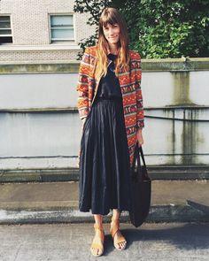 #vintage jacket, @gamma_f_o_l_k necklace, @black_crane dress, @vplnyc for #ldtuttle sandals & my handmade bag!