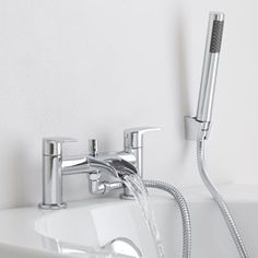 The Milano Waterfall bath shower mixer tap is a great option for creating a chic designer look Bathroom Shop, Bathroom Taps, Timeless Bathroom, Modern Bathroom, Bath Shower Mixer Taps, Modern Deck, Cheap Bathrooms, Modern Baths, Bathroom Inspiration