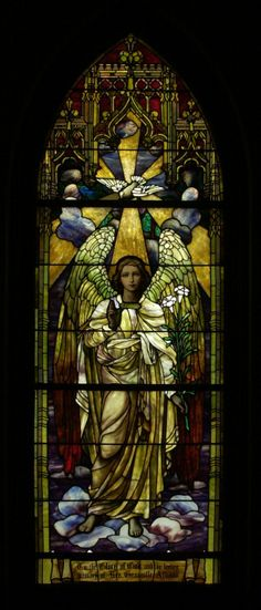 One of three Tiffany windows in Trezevant Hall at Grace-St. Luke's Church. This window is titled 'The Morning Angel.'
