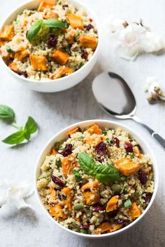 This healthy Sweet Potato Quinoa Salad with cranberries, pepitas and maple dressing is filled with complete protein, antioxidants and makes a delicious main or side dish - warm or cold.