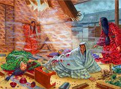 Yodo-dono, the mother of Toyotomi Hideyori, suffers the bombardment of Osaka Castle, 1614