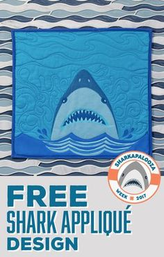 I knew the first ever Sharkapalooza Week at Missouri Star Quilt Co and Man Sewing had to be special, and what better way to celebrate this fintastic week, than with a FREE Shark Applique Design downlo Quilt Patterns Free, Applique Patterns, Applique Quilts, Applique Designs Free, Applique Templates, Summer Quilts, Winter Quilts, Nautical Quilt, Pineapple Quilt