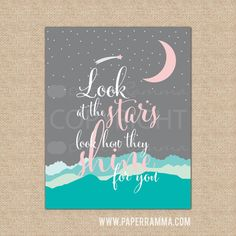 Pastel Star and Moon Art, Look at the Stars Sign, Kid's Room Poster// Warm & Fuzzy Collection // Choose Art Print or Canvas // N-XF04-1PS