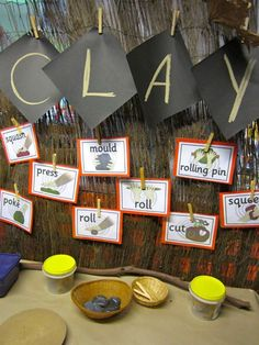 Clay center with vocabulary words at Beaumaris Primary School