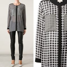 Michael Kors White Checked Sheer Blouse XS Michael Kors White Checked Sheer Blouse XS MICHAEL Michael Kors Tops Blouses