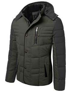 Mens Hooded Winter Jacket With Chest Pocket #doublju