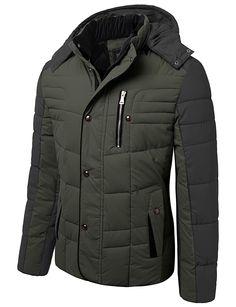 Mens Hooded Winter Jacket With Chest Pocket #doublju